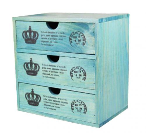 Lovely Small Crown Pattern Wood Storage Chests Storage Cabinet ToysBlue  sc 1 st  Dragon Sonic & Lovely Small Crown Pattern Wood Storage Chests Storage Cabinet Toys ...