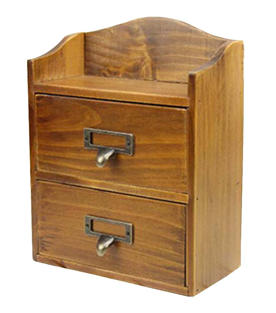 Small Lovely Natural Wood Storage Chests Desktop Container Cabinet